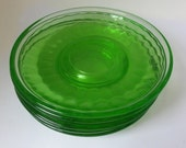 Green depression glass saucers, set of 6 Thumbprint design saucers manufactured by the Federal Glass Company of Columbus Ohio
