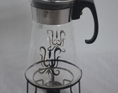 Vintage 10 Cup Pyrex Glass Coffee Pot Carafe with Black Metal Candle Warmer