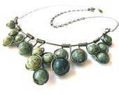 Wire Wrapped Necklace made with  Russian Serpentine Jasper stone beads, antique bronze craft wire and adjustable chain