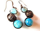 Dragons Vein Agate and Vintage Filigree Copper Beads and Wire Wrapped Earrings