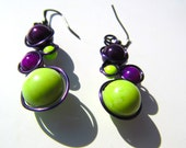 RESERVED...Lime Green and Purple Wire Wrapped Earrings