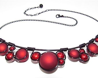 Red Rubber Ball Beads and black wire wrapped necklace, black wire and adjustable chain.