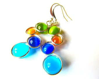 Rainbow Cat Eye Bead Earrings Wrapped with Silver Craft Wire