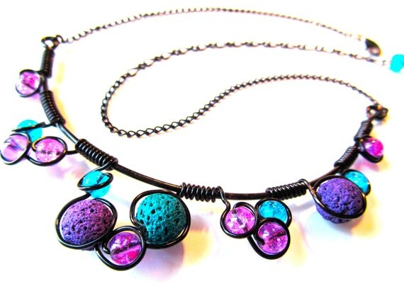 Purple, Teal and Black Wire Wrapped Necklace with lava rock and glass beads, black wire and adjustable chain