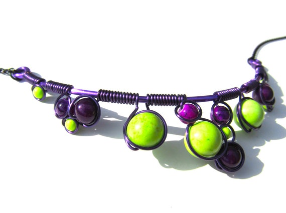 Apple Green Magnesite and Dark Violet Fossil Stone Beads in a Black Wire Wrapped Necklace with adjustable matching chain