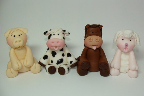Cake Decorations Farm Animals : Items similar to Edible Fondant Cake Toppers - Farm ...