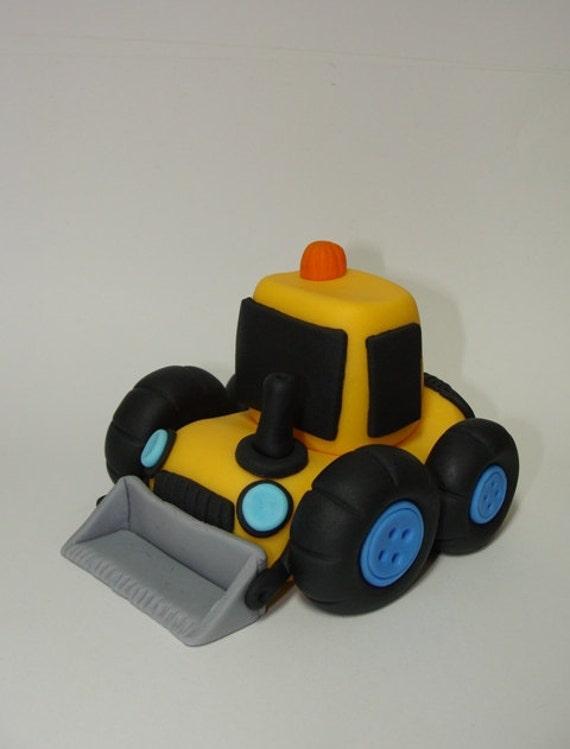 Items Similar To Edible Fondant Cake Topper Bulldozer On