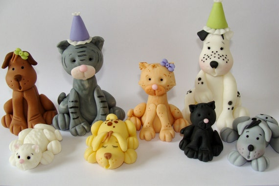 Edible Dog Cake Decoration : Items similar to Edible Fondant Cake Toppers - Cats & Dogs ...