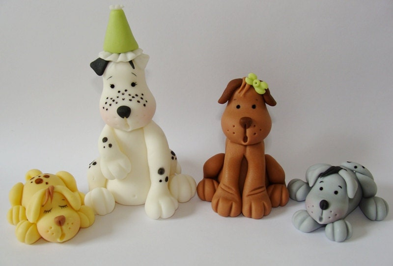Edible Dog Cake Images : Items similar to Edible Fondant Cake Toppers - Dogs on Etsy