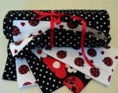 SALE diaper changing pad with 5 coordinating flannel wipes