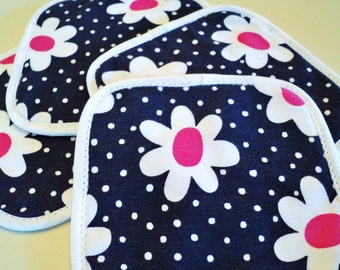 navy with white daisy cloth coasters set of 4