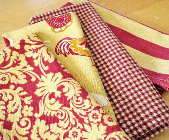 antique gold and red cloth napkins