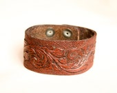 Leather Wrist Cuff - Mocha Brown - Handcarved and Handstamped