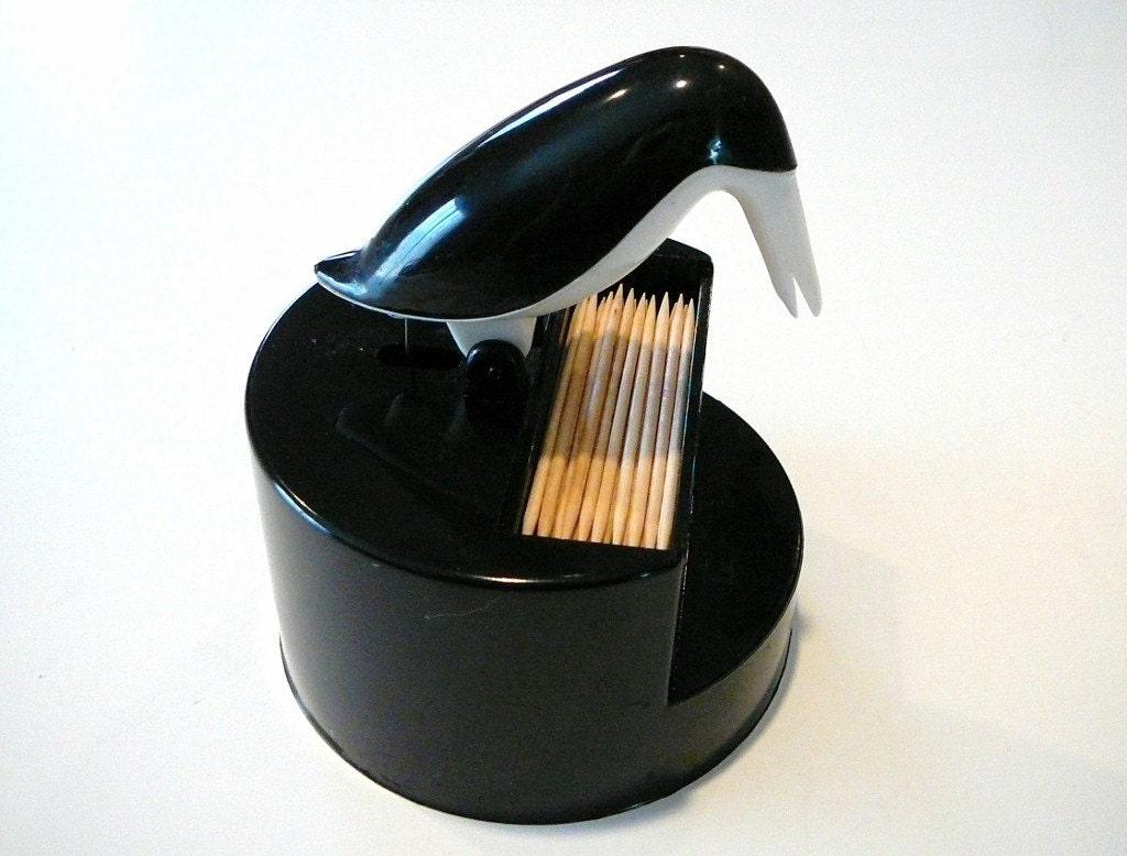 Fun Vintage Retro Penguin Toothpick Holder Dispenser