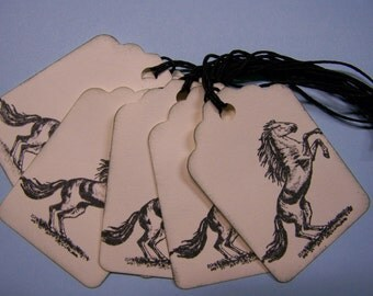 Hi Ho Silver vintage style horse  gift tags-  Hand stamped  - Black ink - Set of 8