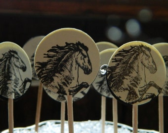 Cowgirl or cowboy PARTY Picks - Vintage style horse - Set of 8 - Ivory and black