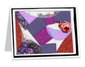 Handmade Purple Quilt Mother's Day blank note card
