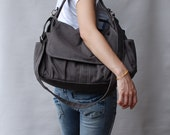 Messenger Bag 40% - Christmas SALE - Grey, Diaper Bag, School Bag, Shoulder Bag, Canvas School bag, crossbody bag, Handbag, Gift,