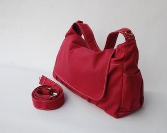 BIG SALE- Cross Body Bag, Pico, Rose Red, Messenger Bag, Shoulder Bag/Diaper Bag/ School Bag/ Women /For Her,  40% OFF