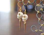 White Skull & Gold Spike Earrings