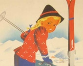 1940's Vintage Ski Poster Winter In Austria Atelier Hofmann Travel Poster