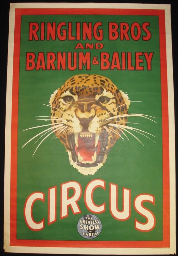 Original Vintage 1940s Ringling Bros & Barnum Baily Circus Poster Panther