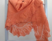 Warm orange shawl with  decorative border. Mother's Day Gift - calicja