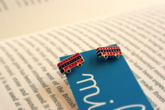 Big Red London Bus stud post earrings