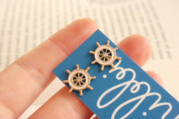 Ahoy ahoy nautical stud post earrings