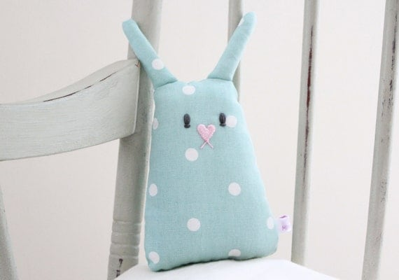 Personalised Baby Bunny Toy - Green & White Polka Dot Bunny