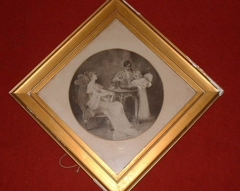 Victorian framed black and whit print
