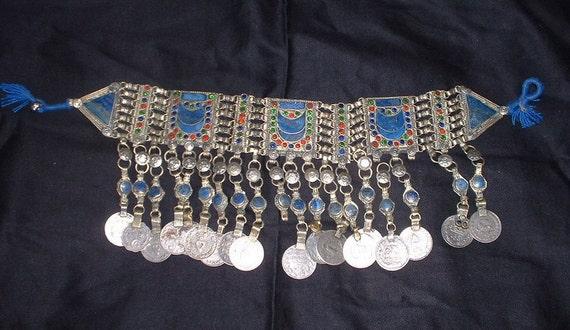 vintage tibetan lapezlatula and coin necklace