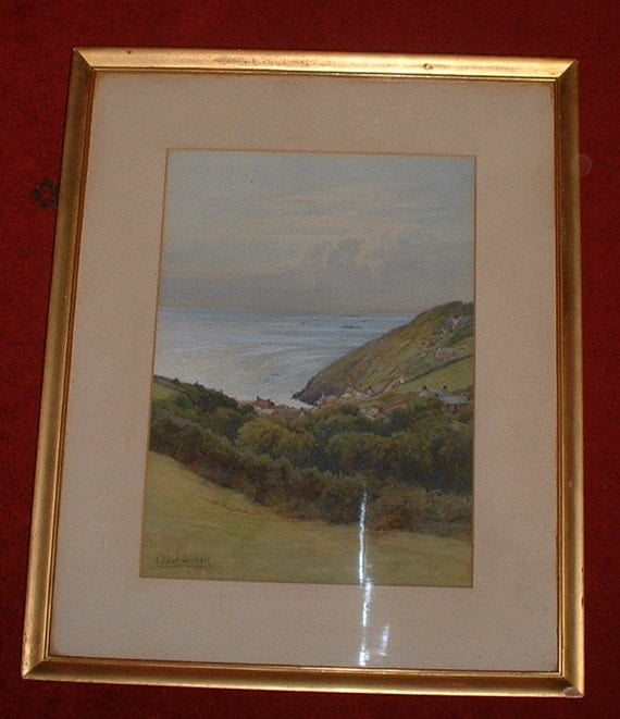 antique original water colour landscape by J Edward Goodall