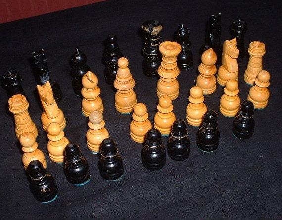 Vintage wooden chess set