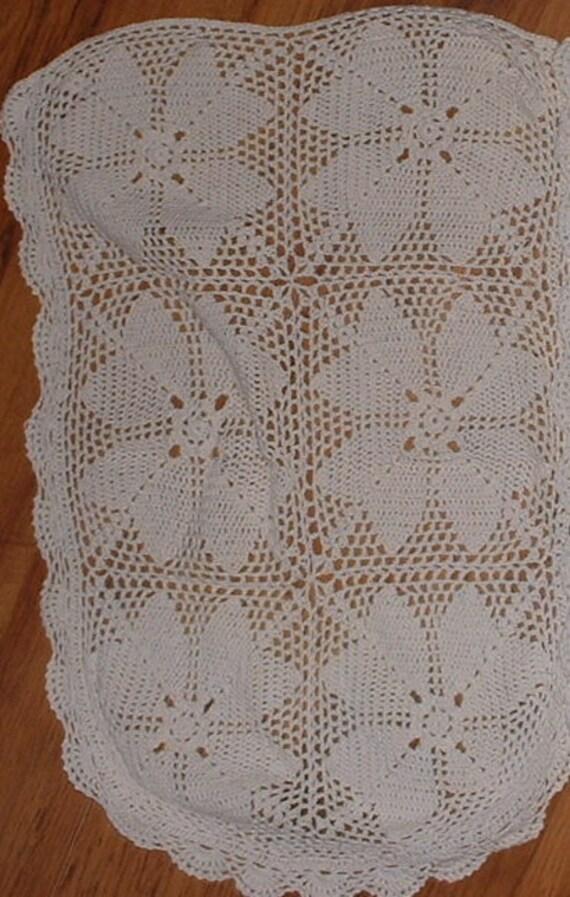 antique hand crotchet babies cot blanket