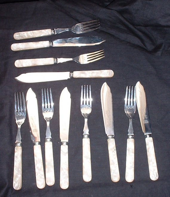 vintage 1950 set of 6 fish cutlery