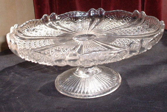RESERVED Victorian pressed glass cake plate