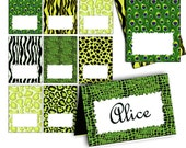 Animal Print Green Tent Card labels food card table label ETSY