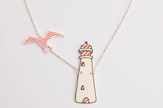 Light House Necklace, illustration with seagull