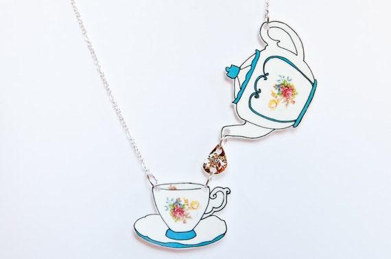 Teapot and Teacup necklace, blue floral illustration