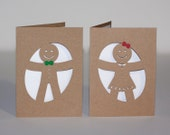 Gingerbread Boy and Girl Cut Paper Cards Set of Two