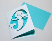 Mermaid Folded Note Card with Aqua Blue Liner
