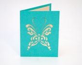 Turquoise Butterfly Card with Shimmering Cream Liner