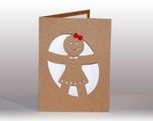 Gingerbread Girl Note Card, Holiday Card, Blank Holiday Note, Cut Out Holiday Card