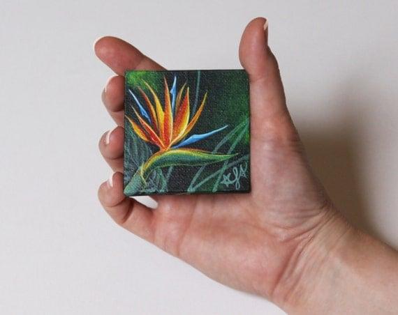 Under 25, Miniature Flower Painting, Bird of Paradise Painting, Miniature Painting with Easel