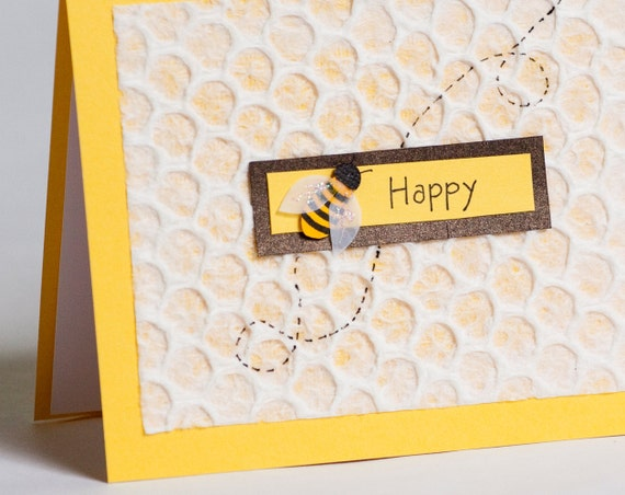 Bee Happy Cut Paper Greeting Card