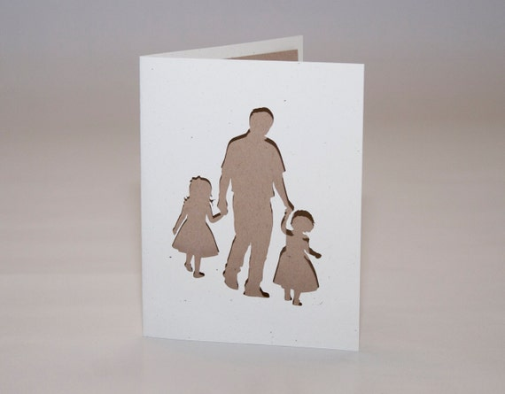 Father and Two Daughters Cut Silhouette Card