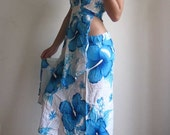 Free Shipping : On the beach........Sexy Halter and Wrapping Rayon Blue  Floral Print Dress - Fit to all S-M-L-XL