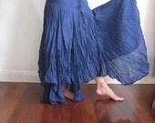 Deep Blue Mermaid Drawstring Cotton Skirt
