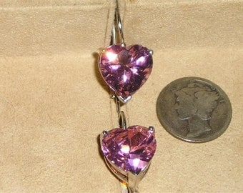 Vintage Sterling Silver Pink Crystal Hearts Pierced Earrings Signed Jewelry K39